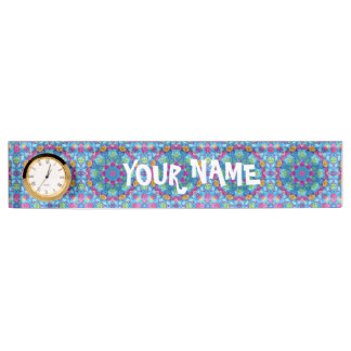 Hearts Desk Nameplate with Clock