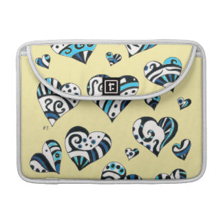Hearts Doodles Yellow Funky Pattern Sleeve For MacBook Pro