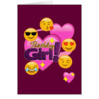Hearts & Emojis Birthday Girl Card