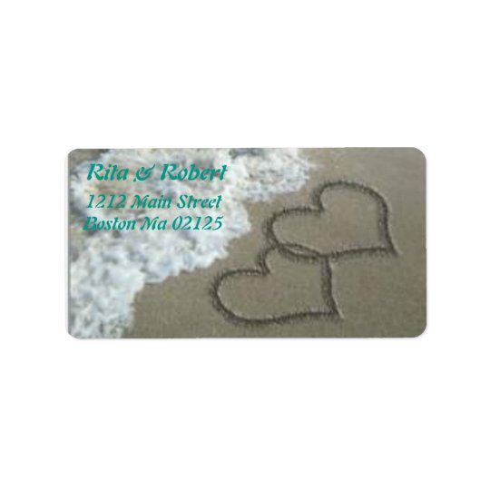 Hearts Engraved in Sand Ocean Labels/Wedding