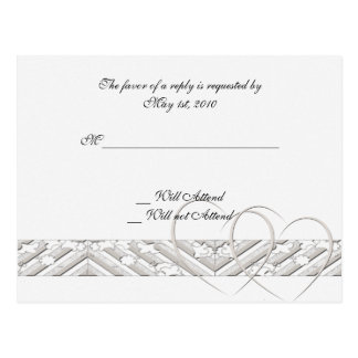 Hearts Entwined in White Silver Response Card