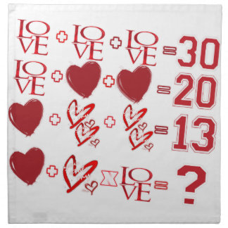 hearts equation valentine's day design napkin