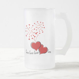 Hearts Explosion Frosted Glass Beer Mug