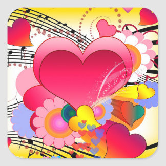 Hearts Flowers and Music Notes Square Sticker