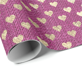 Hearts Foxier Gold Raspberry Rubin Pink Rose Linen Wrapping Paper