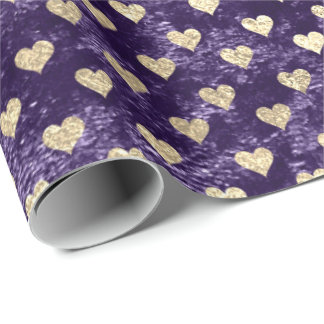Hearts Foxier Gold Violet Purple Velvet Eggplant Wrapping Paper