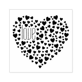 Hearts Full of Hearts Love Black Rubber Stamp