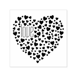 Hearts Full of Hearts Love Black Self-inking Stamp