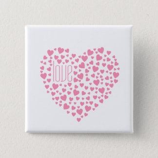 Hearts Full of Hearts Love Pink 2 Inch Square Button
