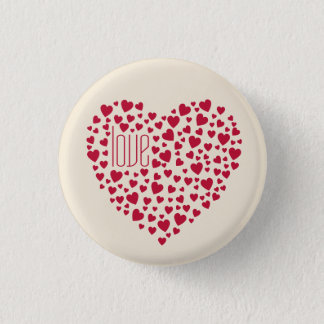 Hearts Full of Hearts Love Red 1 Inch Round Button