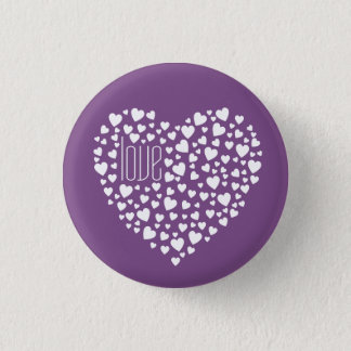 Hearts Full of Hearts Love White 1 Inch Round Button