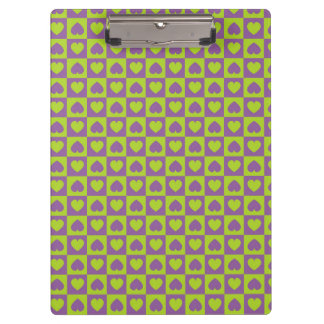 Hearts Galore Purple and Lime Clipboard