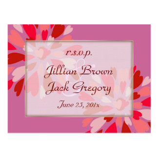 Hearts Galore Wedding RSVP Postcard