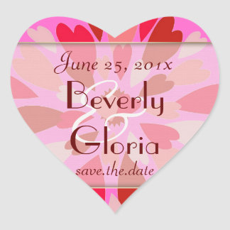 Hearts Galore WEDDING Save The Date Heart Sticker