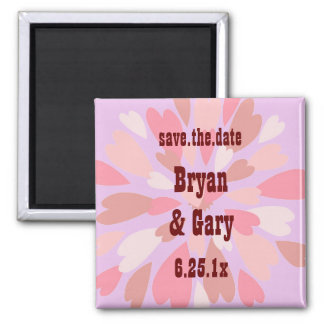 Hearts Galore WEDDING Save The Date Square Magnet