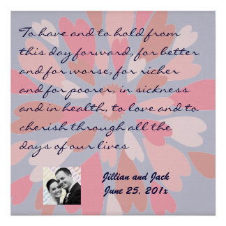 Hearts Galore WEDDING Vows Display Poster
