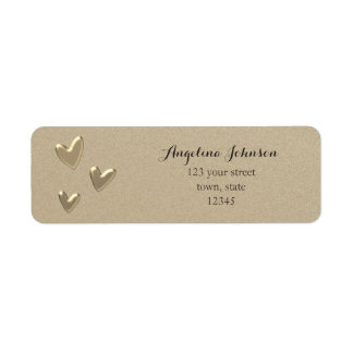 Hearts Golden Sandstone Female Sophisticated Chic Return Address Label