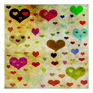 Hearts-Grunged Poster