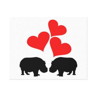 Hearts & Hippos Canvas Print