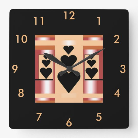 Hearts & Home Modern Wall Clock- Pink/Peach/Black Clocks