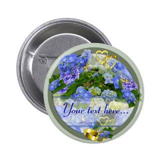 HEARTS & HYDRANGEAS ~ Wedding Button/Pin