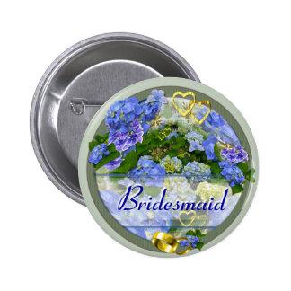 HEARTS & HYDRANGEAS ~ Wedding Button/Pin 2 Inch Round Button