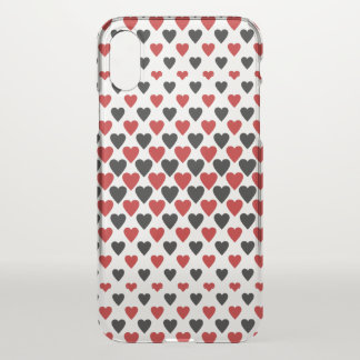 Hearts in Black and Red iPhone X Case