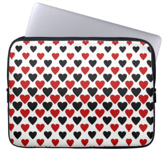 Hearts in Black and Red Laptop Sleeve