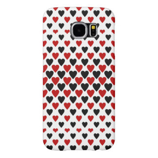 Hearts in Black and Red Samsung Galaxy S6 Cases