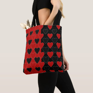 Hearts in black and Red Tote Bag