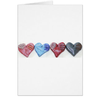 Hearts In Color Clay Art Photo Design Card