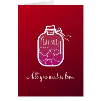 Hearts in glass jar card