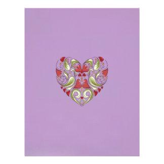 Hearts-In-Heart-On-African-Viole-Pattern Personalized Letterhead