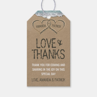 Hearts in the Sand Beach Shore Wedding Thank You Pack Of Gift Tags