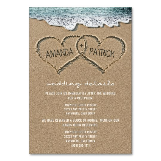 Hearts in the Sand Beach Wedding Enclosure Cards