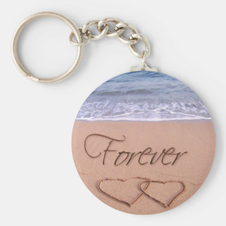 Hearts in the sand forever keychain