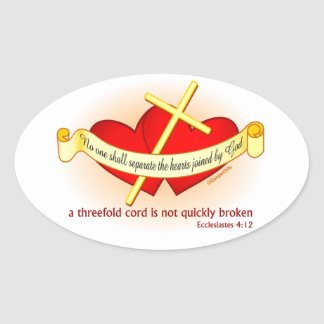 Hearts joined by God Christian gift Oval Sticker