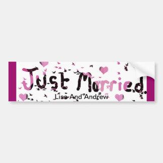 """Hearts ""Just Married Car Bumper sticker""* Bumper Sticker"