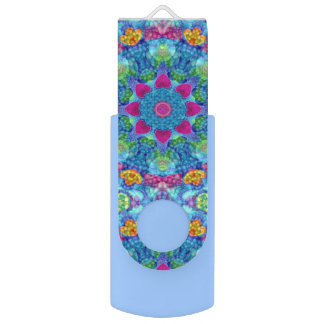 Hearts Kaleidoscope   USB Flashdrive Flash Drive Swivel USB 2.0 Flash Drive