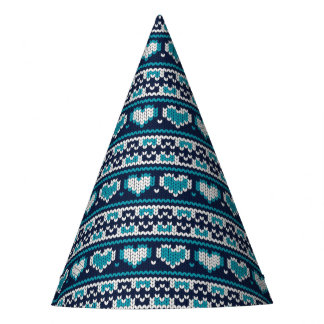 Hearts knitting seamless pattern 2 + your ideas party hat