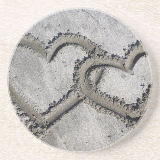 Hearts Linked in the Sand Drink Coaster