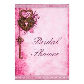 "Hearts Lock and Key Pink Bridal Shower 5"" X 7"" Invitation Card"