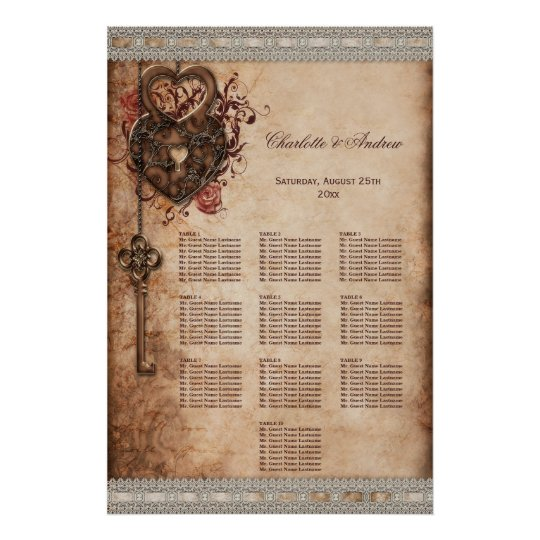 Hearts Lock and Key Wedding 10 Table Seating Chart