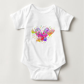 Hearts (love, amour 爱)  A3 Baby Bodysuit