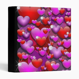 Hearts Love and Diamonds 3 Ring Binder