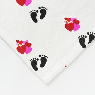 Hearts Love Feet Fleece Blanket