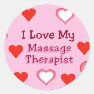 Hearts: Love My Massage Therapist Round Sticker