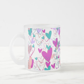 Hearts Love Romantic Powerful Dramatic Artistic Frosted Glass Coffee Mug