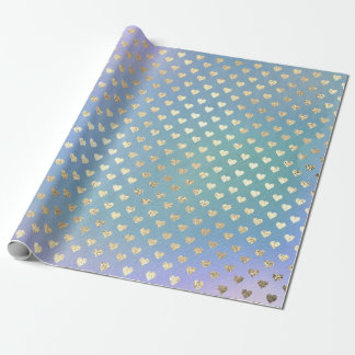 Hearts Metallic Lavande  Purple Teal AquaGold Faux Wrapping Paper
