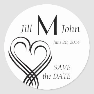 Hearts Monogram Names Save the Date Stickers